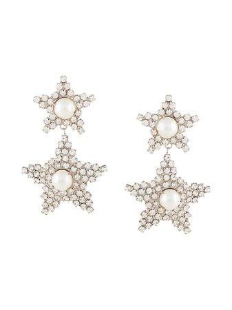 Silver Jennifer Behr Twyla Crystal Embellished Earrings | Farfetch.com