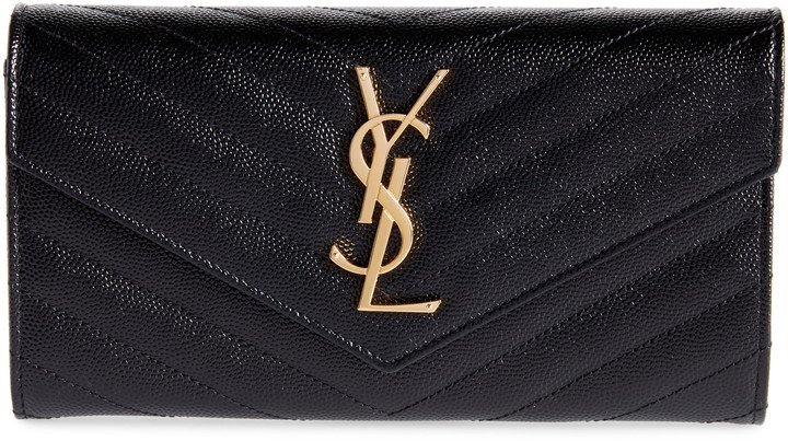 Monogram Logo Leather Flap Wallet