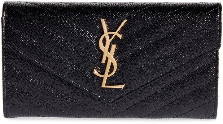 Monogram Logo Leather Flap Wallet
