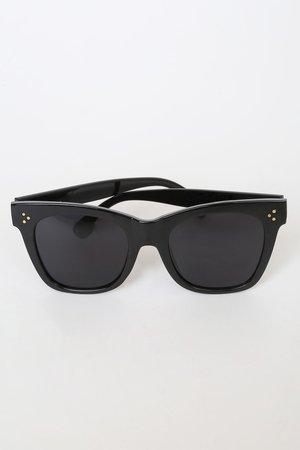I-Sea Stevie - Classic Black Sunglasses - Oversized Sunnies - Lulus