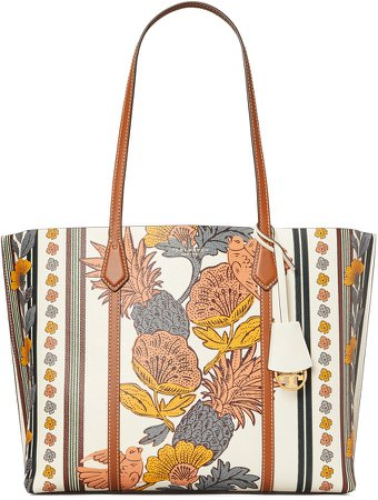 Perry Print Leather Tote