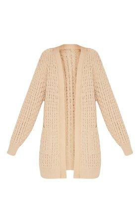 Black Chunky Knitted Midi Cardigan | Knitwear | PrettyLittleThing USA