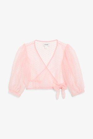 Wrap blouse - Pink polka dots - Tops - Monki WW