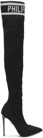 logo jacquard over the knee boots