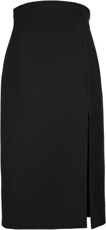 High Waist Silk & Wool Crepe Cady Pencil Skirt