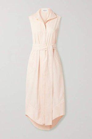 Arias ARIAS - Belted Cotton-poplin Midi Dress - Pastel pink