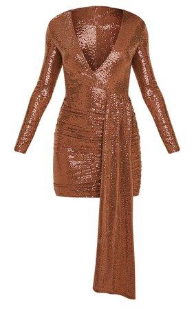 Bronze Sequin Plunge Bodycon Dress | Dresses | PrettyLittleThing