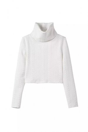 Plain White Turtle Neck Long Sleeve Crop Sweater - takeluckhome.com
