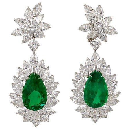 Emerald Diamond Earrings For Sale at 1stDibs