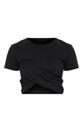 Cream Twist Front Short Sleeve T Shirt | PrettyLittleThing
