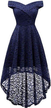 Amazon.com: Homrain Women's Vintage Floral Lace Off Shoulder Hi-Lo Wedding Cocktail Formal Swing Dress Dark Red 2XL: Clothing
