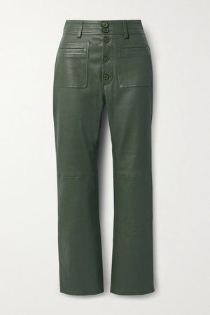 Army green Marston leather straight-leg pants | APIECE APART | NET-A-PORTER