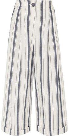 REJINA PYO - Dylan Cropped Striped Wide-leg Cotton-chambray Pants - Blue