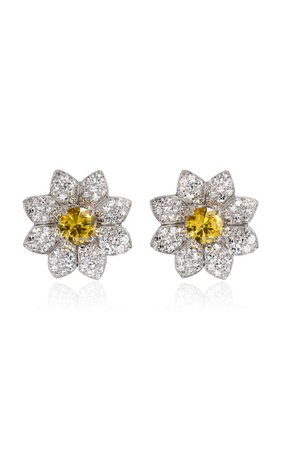 One of a Kind 18K White Gold Daisy Earrings by Margaret Jewels | Moda Operandi