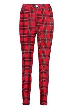 Tartan Check Skinny Jeans | Boohoo red