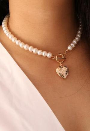 Heart Locket Pearl Necklace – Dainty Basics