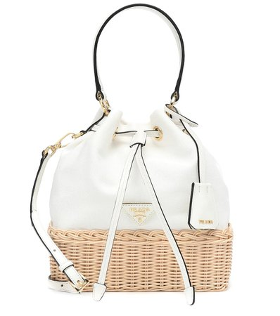 Wicker And Canvas Tote - Prada | Mytheresa