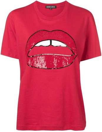 sequined lip T-shirt
