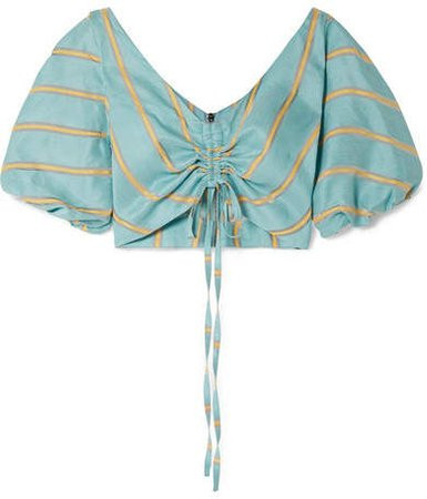 Caicos Cropped Gathered Striped Linen-blend Top - Turquoise