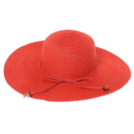 Fashiontage - Red Floppy Beaded Straw Hat - 852983119933