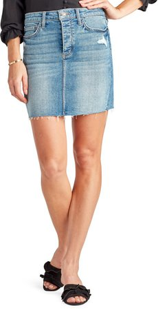 The Jenny Raw Hem Denim Skirt
