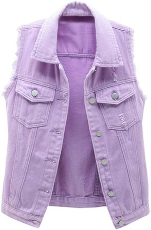 LifeShe Women's Button Up Distressed Denim Sleeveless Vest Jean Jacket with Frayed Sleeve at Amazon Women's Coats Shop