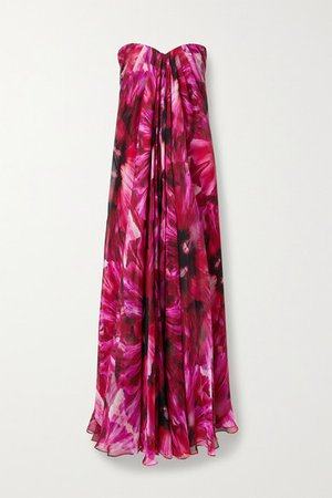 Strapless Pleated Floral-print Silk-crepe De Chine Gown - Pink