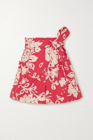 Belted Floral-print Cotton-poplin Shorts