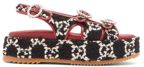 Angelina Gg Tweed Flatform Sandals - Womens - Black