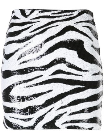 Alice+Olivia Zebra Print Sequin Skirt