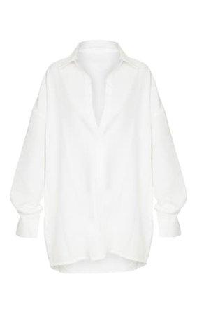 White Oversized Long Line Shirt   Tops   PrettyLittleThing