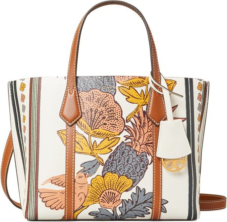 Small Perry Print Leather Tote
