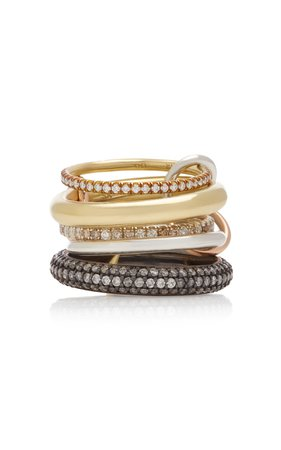 Spinelli Kilcollin Nexus Set-Of-Five 18K Gold, Sterling Silver and Rho