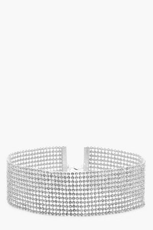 Wide Statement Diamante Choker | Boohoo