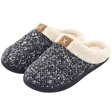 Amazon.com | Women's Comfort Memory Foam Slippers Wool-Like Plush Fleece Lined House Shoes w/Indoor, Outdoor Anti-Skid Rubber Sole (Medium / 7-8 B(M) US, Black) | Slippers