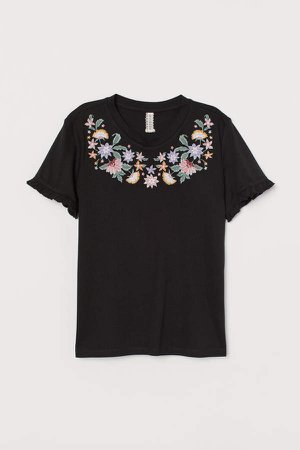 Embroidery-embellished Top - Black