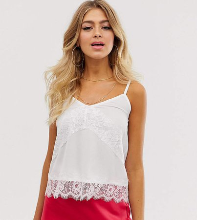 lace insert cami top in white
