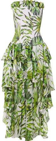 Lola Asymmetric Ruffled Smocked Printed Silk-chiffon Dress - Green