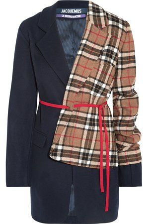 JACQUEMUS Paneled checked wool-blend blazer