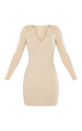 Stone V Neck Collar Detail Knitted Dress   PrettyLittleThing USA