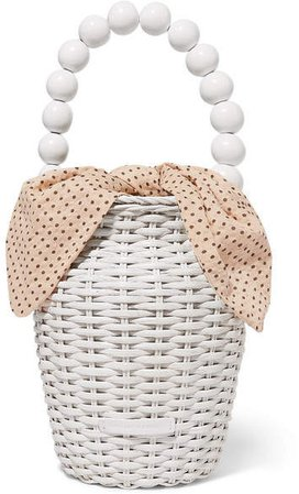 Louise Wicker And Polka-dot Canvas Tote - White