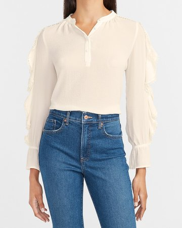 Ruffle Sleeve Button Front Top