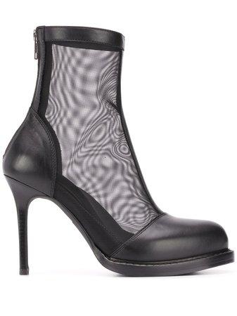 Ann Demeulemeester Mesh Upper Ankle Boots 20132817363099 Black | Farfetch