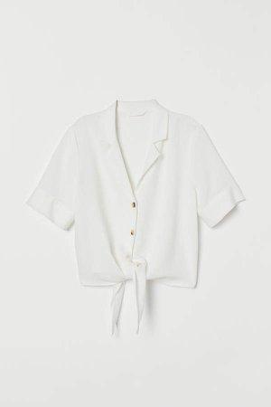 Linen-blend Blouse - White