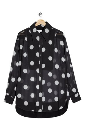 Topshop Polka Dot Sheer Oversize Blouse | Nordstrom