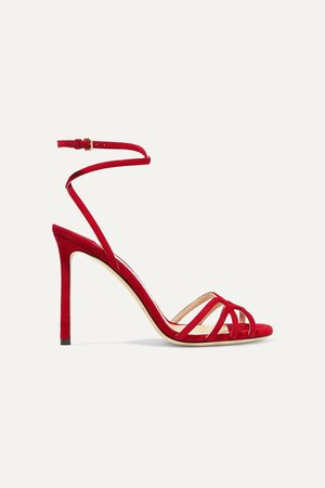 Red Mimi 100 suede sandals | Jimmy Choo | NET-A-PORTER