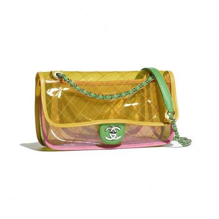 PVC, Lambskin & Silver-Tone Metal Pink & Yellow Flap Bag   CHANEL