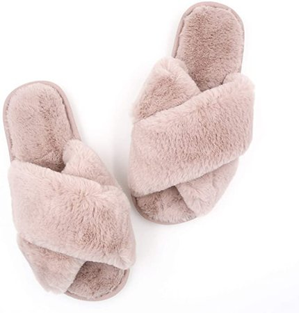 Womens Fuzzy Slippers Sandals Leopard Plush Open Toe Faux Fur Fluffy House Flats Slippers Cross Band Soft Warm Comfy Cozy Bedroom Slide Slippers (US 5-6, Light Pink): Amazon.ca: Shoes & Handbags