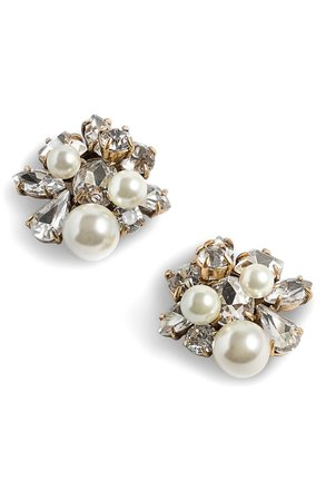 J.Crew Imitation Pearl & Crystal Earrings | Nordstrom