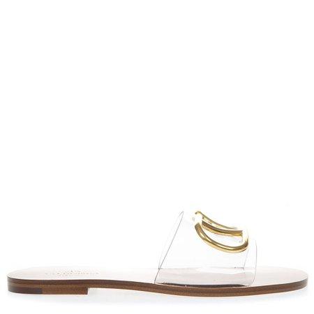 Valentino Garavani Camel Vlogo 5 Mm Slide Sandal